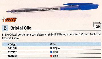 ENVASE DE 20 UNIDADESBIC BOLÍGRAFO RETRACTIL CRISTAL CLIC AZUL 850733
