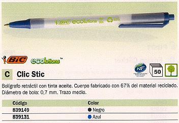 BIC BOLÍGRAFO RETRACTIL CLIC STIC ECOLUTIONS AZUL CUERPO MATERIAL RECICLADO 67% 880689