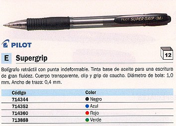PILOT BOLÍGRAFO RETRACTIL SUPERGRIP NEGRO TRAZO 0,4 MM RETRÁCTIL NSGN