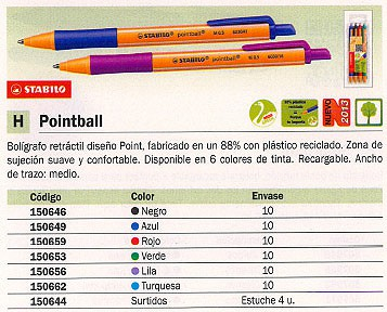 STABILO BOLÍGRAFO RETRACTIL POINTBALL AZUL RECARGABLE 6030/41
