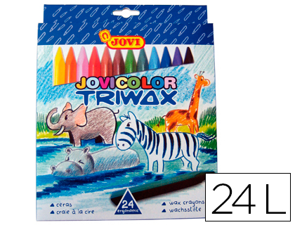 LAPICES CERA JOVICOLOR TRIANGULAR TRIWAX 24 COLORES 973/24