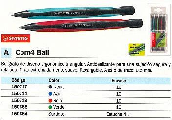 ENVASE DE 10 UNIDADES STABILO BOLÍGRAFO RETRACTIL COM4 BALL AZUL RECARGABLE 1040/41
