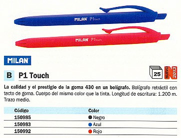 BOLIGRAFO RETRACTIL P1 TOUCH ROJO TRAZO 1,5-3 MM 17651