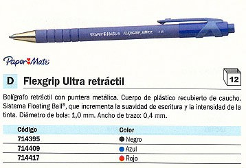 BOLIGRAFO RETRACTIL FLEXGRIP ULTRA RETRÁCTIL NEGR
