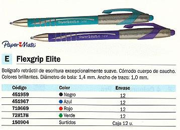 PAPER MATE BOLÍGRAFO RETRACTIL FLEXGRIP ELITE AZUL TRAZO 1,0 MM S0767610