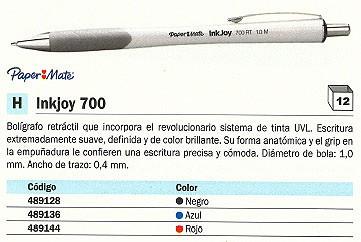 ENVASE DE 12 UNIDADES PAPER MATE BOLÍGRAFO RETRACTIL INKJOY 700 AZUL TRAZO 0,4 MM S0957350