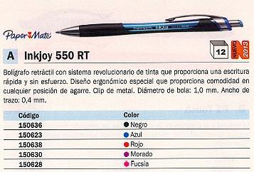 ENVASE DE 12 UNIDADESPAPER MATE BOLÍGRAFO INKOY 550 RT FUCSIA TRAZO 0.4 MM S0977240