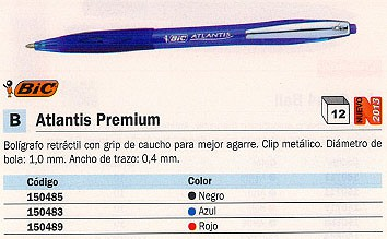 ENVASE DE 12 UNIDADES BIC BOLÍGRAFO RETRACTIL ATLANTIS PREMIUM NEGRO 902133