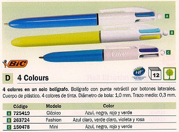 BIC BOLIGRAFO RETRACTIL 4 COLOURS MINI 895958