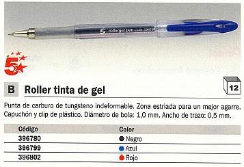 Rollers tinta gel 5 ESTRELLASROLLER 396802 ROJO BOLA 0,5 MM TINTA GEL 3968