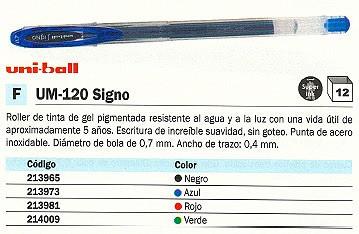 ENVASE DE 12 UNIDADESUNI-BALL ROLLER UM-120 SIGNO AZUL BOLA 0,7 MM TINTA GEL UM1200300
