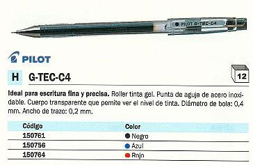 PILOT ROLLER G TEC C4 NEGRO TRAZO 0,3 MM TINTA GEL BL GC4 R