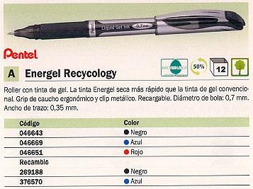 PARKER RECAMBIO ENERGEL RETRÁCTIL TRAZO 0.35 MM TINTA GEL AZUL GRIP DE CAUCHO LR7 C