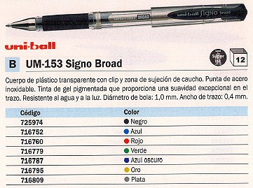 ENVASE DE 12 UNIDADES UNI-BALL ROLLER UM-153 SIGNO BROAD AZUL OSCURO TRAZO 0,6 MM TINTA GEL UM1530390