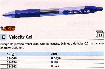 ENVASE DE 12 UNIDADES BIC ROLLER VELOCITY GEL NEGRO TRAZO 0,7MM 829157