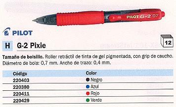 PILOT ROLLER G-2 PIXIE VERDE TRAZO 0,4 MM TINTA GEL NG2PV