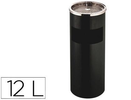 CENICERO PAPELERA METALICO Q-CONNECT NEGRO -61,5X25 CM CON RECOGECOLILLAS