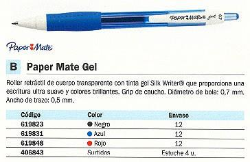 PAPER MATE ROLLER MATE GEL NEGRO TRAZO 0,5 MM TINTA GEL S0903210