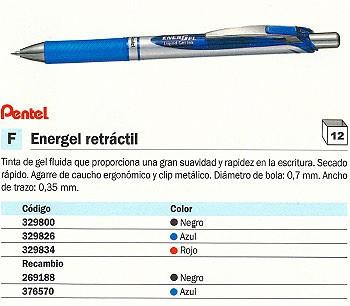 ENVASE DE 12 UNIDADES PENTEL BOLÍGRAFO GEL ENERGEL RETRÁCTIL NEGRO TRAZO 0.35 MM GRIP DE CAUCHO BL77-A