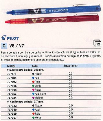 ENVASE DE 12 UNIDADES PILOT ROLLER V5 ROJO TRAZO 0,3MM TINTA LIQUIDA BX-V5-G