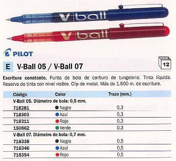 ENVASE DE 12 UNIDADES PILOT ROLLER V- BALL 07 AZUL TRAZO 0,5 MM TINTA LIQUIDA BL- VB7-L