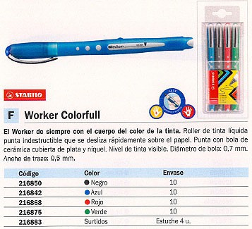 ROLLER WORKER COLORFULL ROJO TRAZO 0,5 MM TINTA LIQU