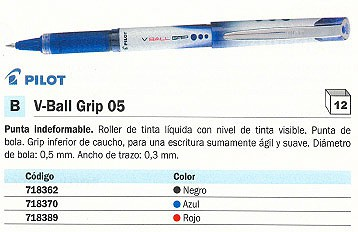 PILOT ROLLER V-BALL GRIP 05 ROJO TRAZO 0,3 MM TINTA LIQUIDA NVB5GNR