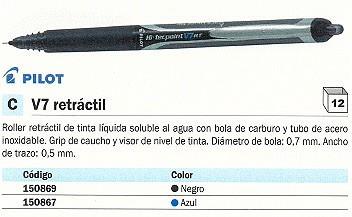 PILOT ROLLER V7 NEGRO TRAZO 0,5 MM TINTA LIQUIDA BXRT V7 L