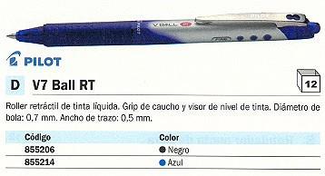 ENVASE DE 12 UNIDADES PILOT ROLLER V7 BALL RT AZUL TRAZO 0,5 MM TINTA LIQUIDA NVRB7A