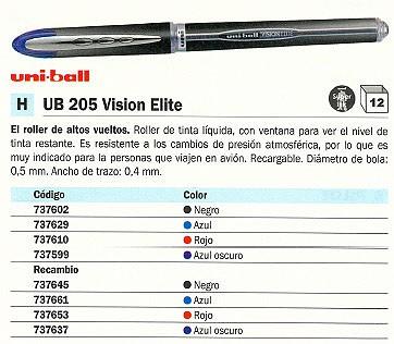 ENVASE DE 12 UNIDADES UNI-BALL RECAMBIO UB 205 VISION ELITE TRAZO 0.5 MM PUNTA MEDIA NEGRO UBR950200