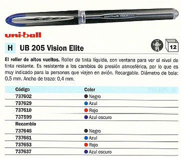 UNIBALL ROLLER UB 205 VISION ELITE AZUL TRAZO 0,4 MM TINTA LIQUIDA 701821000