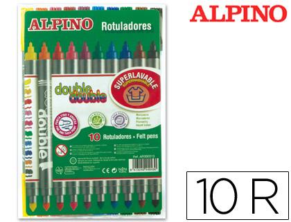 ALPINO ROTULADORES ALPINO ESTUCHE 10 UD DOBLE PUNTA COLORES SURTIDOS AR000013
