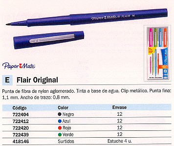ENVASE DE 12 UNIDADES PAPER MATE ROTULADOR PUNTA DE FIBRA FLAIR VERDE TRAZO 0,8 MM S0191033