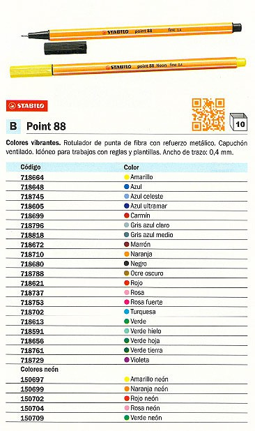 STABILO ROTULADOR POINT 88 COLORES SURTIDOS TRAZO 0,4 MM