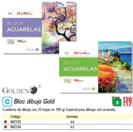 ENVASE DE 5 UNIDADES GOLDEN CUADERNO DIBUJO EN ESPIRAL 20 HOJAS A4 LISO. ESPECIAL ACUARELA 324280