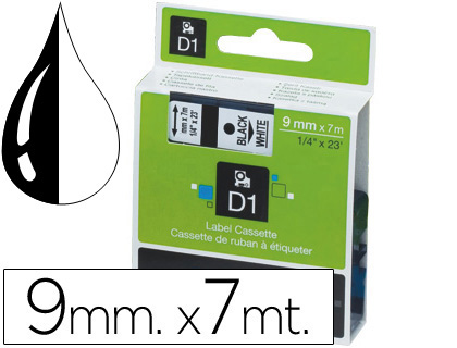 Cintas para rotular Dymo CINTA DYMO NEGRO-TRANSPARENTE 9MM X 7MT D1