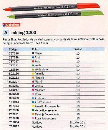 ENVASE DE 10 UNIDADES EDDING ROTULADOR 1200 AMARILLO FLUORES. TRAZO 0,5 A 1 MM 1200-065