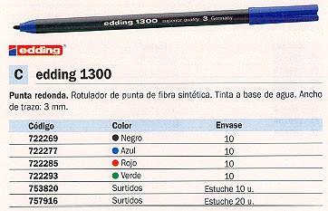 ENVASE DE 10 UNIDADES EDDING ROTULADOR PUNTA DE FIBRA MOD. 1300 AZUL TRAZO 3 MM 1300-03