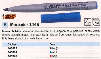 ENVASE DE 12 UNIDADES BIC PERMANENTE BOLSILLO POCKET 1445 TRAZO 1 MM AZUL PUNTA CÓNICA MAYORIA SUPERFICIES 820901