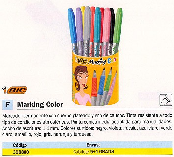 BIC MARKING COLOR CUBILETE 9+1 TRAZO 1,1 MM COLORES SURTIDOS 896018