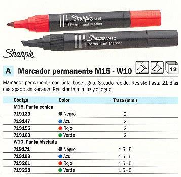 ENVASE DE 12 UNIDADES SHARPIE PERMANENTE M15 PUNTA CÓNICA. TINTA BASE AGUA AZUL SECADO RÁPIDO. TRAZO 2 MM.