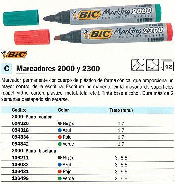 ENVASE DE 12 UNIDADES BIC MARCADOR PERMANENTE 2300 PUNTA BISELADA TRAZO 3 - 5.5 MM. NEGRO REF. 820926