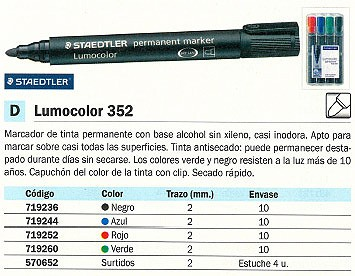 PERMANENTE 352 PUNTA CÓNICA COLOR VERDE TRAZO 2 MM