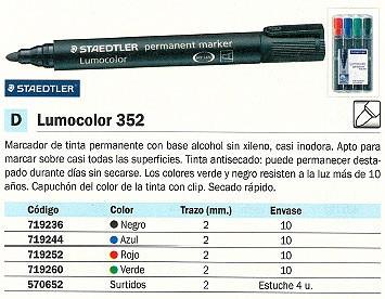 STAEDTLER PERMANENTE LUMOCOLOR 352 TRAZO 2 MM PUNTA CÓNICA ROJO 352-2