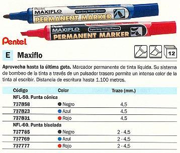 ENVASE DE 12 UNIDADES PENTEL MARCADOR PERMANENTE MAXIFLO PUNTA BISELADA TRAZO 2 - 4.5 MM ROJO REF. NLF60-B