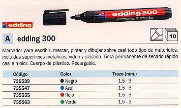 ENVASE DE 10 UNIDADES EDDING 300 PERMANENTE PUNTA CÓNICA TRAZO 1.5-3 MM NEGRO REF. 300-01
