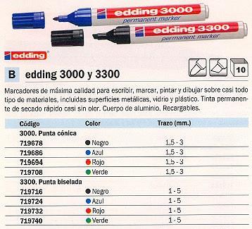 ENVASE DE 10 UNIDADES EDDING 3000. PERMANENTE PUNTA CÓNICA. TRAZO 1.5-3 MM. COLOR NEGRO. REF.3000-01