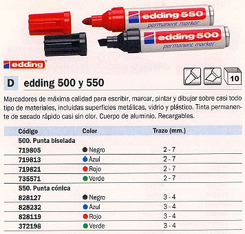 ENVASE DE 10 UNIDADES EDDING 500 PERMANENTE PUNTA BISELADA TRAZO 2-7 MM VERDE REF. 500-04