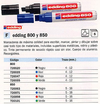 850 PERMANENTE PUNTA BISELADA TRAZO 5 16 MM NEGRO REF