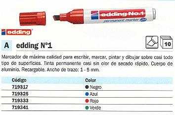 ENVASE DE 10 UNIDADES EDDING Nº 1 PERMANENTE PUNTA BISELADA TRAZO 1 5 MM ROJO REF. N.1 02